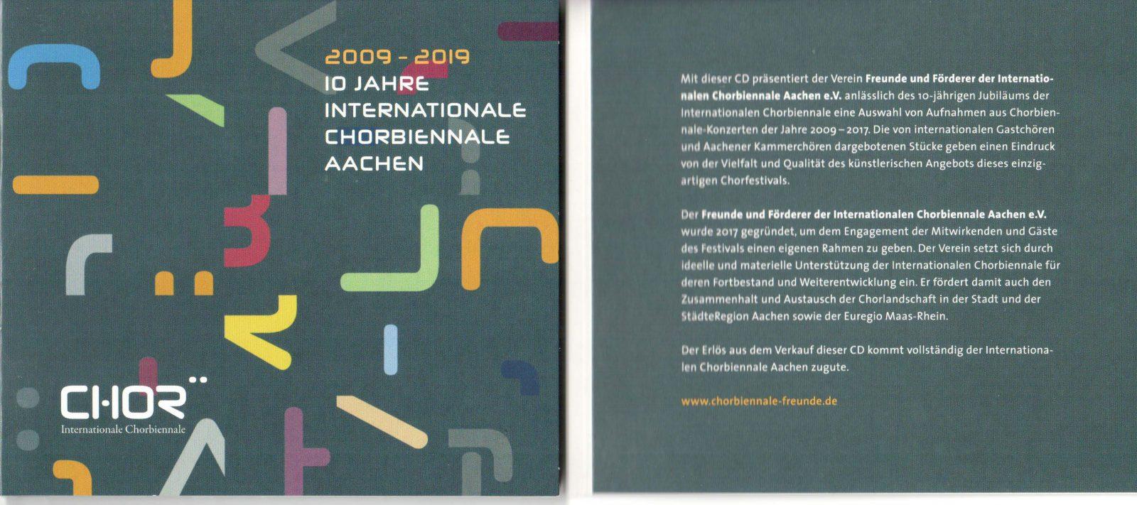 CD mit Aufnahmen aus 10 Jahren Chorbiennale Aachen